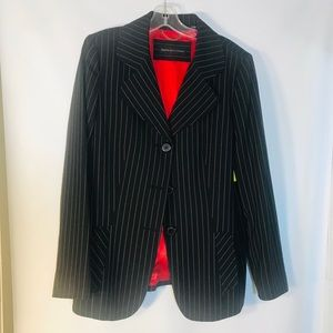 Women's Dana Buchman Black/White Striped Blazer